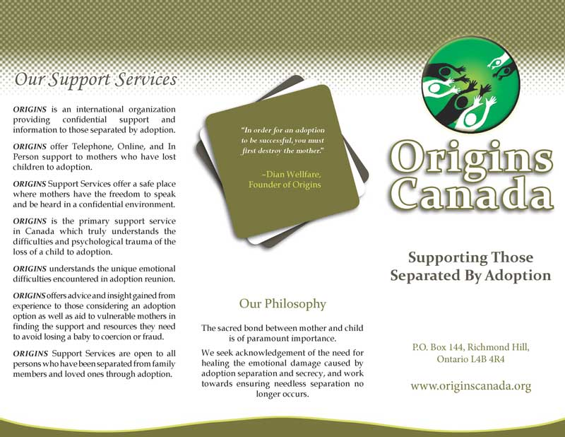 Tri-Fold Brochure Layout -- Origins Canada