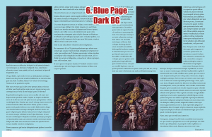 Sample page spread with blue page background and dark stock image background