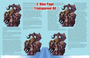 Sample page spread with blue page background and transparent stock art background