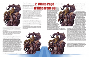 Sample page spread with white page background and transparent stock art background