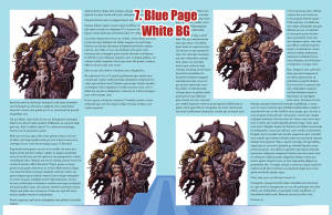 Sample page spread with blue page background and white stock image background