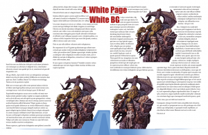 Sample page spread with white page background and white stock art background